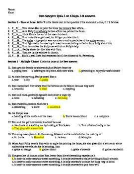 Tom Sawyer Chapters 1-8 Quiz