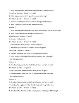 Tom Sawyer Comprehension Questions by Chapter with Answer Key