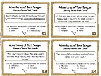 Tom Sawyer Literary Terms Task Cards