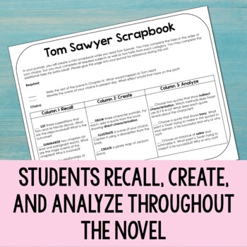 Tom Sawyer Scrapbook Project - Tic-Tac-Toe style journal prompts