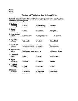 Tom Sawyer Vocab Ch 14-30 Quiz