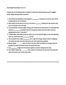 Tom Sawyer Vocab Ch 5-13 Quiz