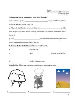 Tom Sawyer Vocabulary Packet