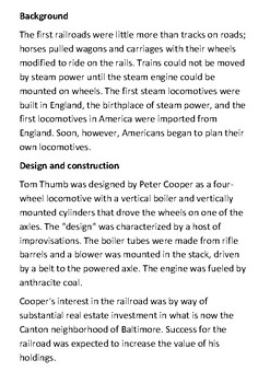 Tom Thumb Locomotive Handout