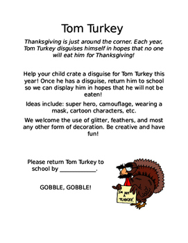 Tom Turkey Disguise Activity
