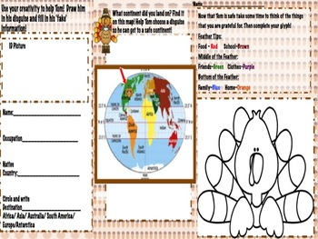 Tom Turkey Thanksgiving Map/Match/ and Glyph activity