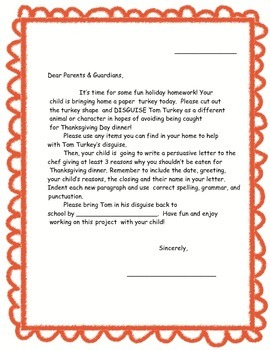 Tom Turkey's Thanksgiving Disguise Project (With Additional Writing Activity)
