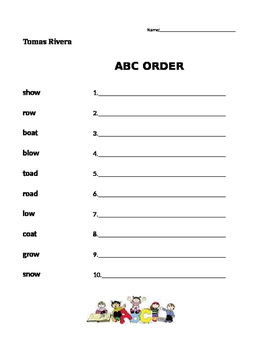 Tomas Rivera - Journeys 1st Grade- ABC Order