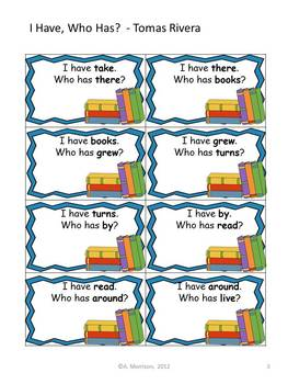 """Tomas Rivera """"I HAVE, WHO HAS?"""" Sight Word Practice for Harcourt Trophies"""