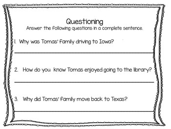 Tomas and the Library Lady ~   31 Common Core Activities