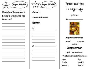 Tomas and the Library Lady Trifold - California Treasures 2nd Gr Unit 2 Week 2