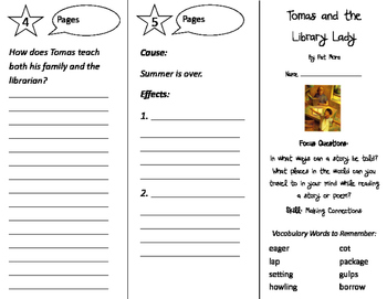 Tomas and the Library Lady Trifold - Imagine It 3rd Grade Unit 6 Week 1