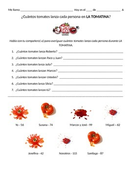 Tomatina Number Practice Spanish