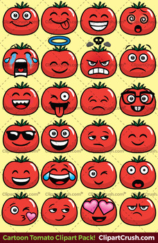 Tomato Emoji Clipart Faces / Tomato Vegetable Emojis Emotions Expressions