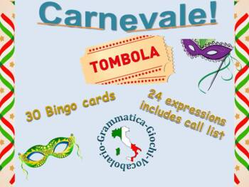 Tombola Carnevale Italian Bingo Carnevale vocabulary