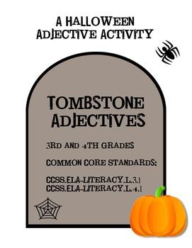 Tombstone Adjective Halloween Worksheet