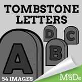 Tombstone Alphabet Letters Clipart - Gravestone Clip Art