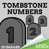 Tombstone Numbers Clipart - Halloween Clip Art Graphics