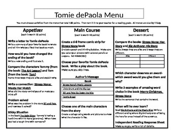 Tomie dePaola Menu: Appetizer, Main Course, and Dessert
