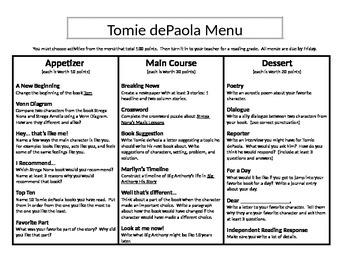 Tomie dePaola Menu: Appetizer, Main Course, and Dessert (2)