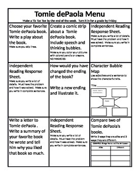 Tomie dePaola Menu and Reading Response Sheets