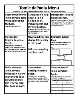 Tomie dePaola Menu and Reading Response Sheets