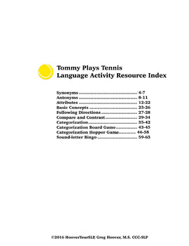 Tommy Plays Tennis Language Activity Resource