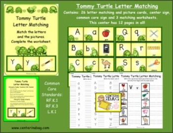 Tommy Turtle Letter Matching (RF.K.1, RF.K.3, L.K.1) Alphabet and Sounds