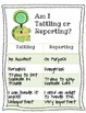 Tommy Turtle Tattling or Reporting Poster with Tattling Forms