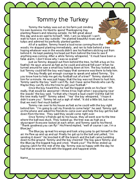 Tommy the Turkey Thanksgiving Fiction/Fantasy Reading