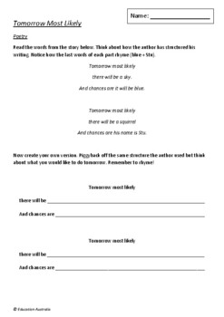 Tomorrow Most Likely by Dave Eggers and Lane Smith - 6 Worksheets