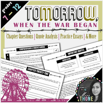 Tomorrow, When the War Began Novel Study Bundle
