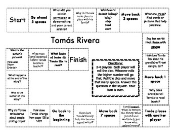 """Tomás Rivera"" Comprehension Game Board- Journeys story 1st grade"