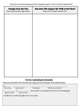 Tone Development: Citing Textual Evidence/Poem Analysis, Graphic Organizer