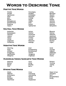 Tone, Diction, and Syntax Words Reference Sheet