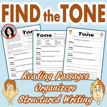 Tone Graphic Organizer with Reading Passages and Bonus Writing Activity