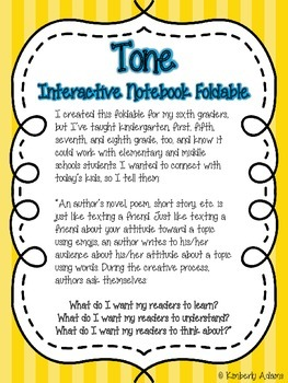 Tone Interactive Notebook Foldable (Texting Tone-y)