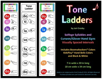 Tone Ladder Poster - Solfege and Curwen/Glover Hand Signs - Color & Black Line
