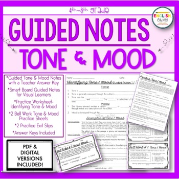 Tone Mood Guided Notes Worksheets Practice By English Oh My Tpt