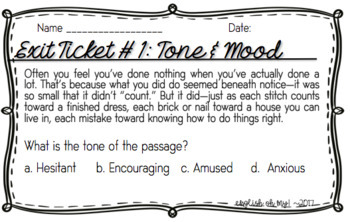 Tone, Mood, Guided Notes, Worksheets, Practice