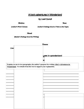 Alice's Adventures in Wonderland: Diction, Tone, Mood, Theme, Author's Purpose
