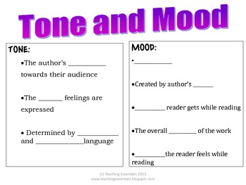 Tone, Mood and Theme fill-in-blank