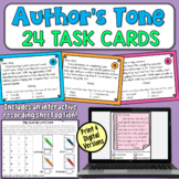 Author's Tone Task Cards | PDF and Digital | Distance Learning