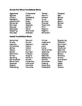 Tone Vocabulary List