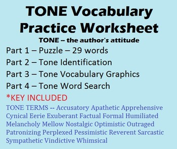 Tone Vocabulary Worksheet - 29 Terms - Puzzle, Identification, Graphics, etc.