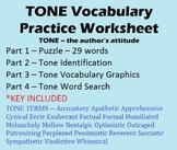 Tone Vocabulary Worksheet - 29 Terms - Puzzle, Identificat