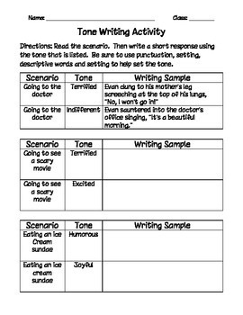 Tone Writing Activity