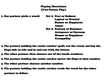 Tone and Mood Activity/ Vocabulary Practice Game 4th, 5th, 6th, 7th, 8th Grade