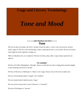 Tone and Mood: Five class activities to teach two difficult concepts.