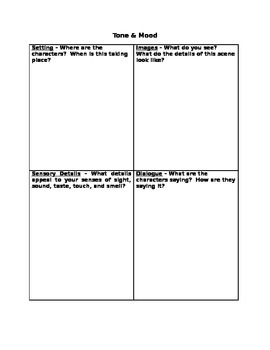 Tone and Mood Graphic Organizer